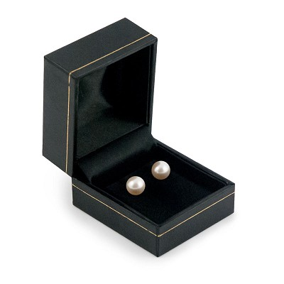 Earring Box Black Leatherette