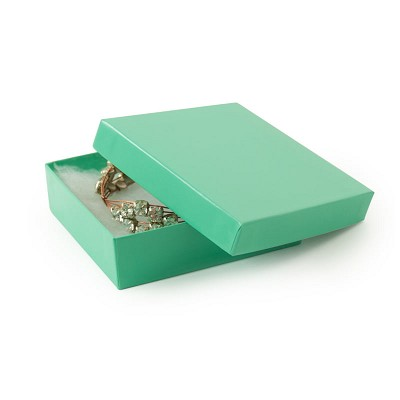 Teal Cotton Filled Jewelry Box #33