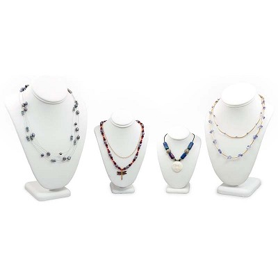 White Leatherette 4 Piece Necklace Display Bust Kit
