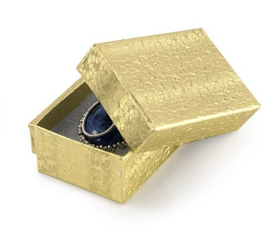 Gold Foil Cotton Filled Jewelry Box #21