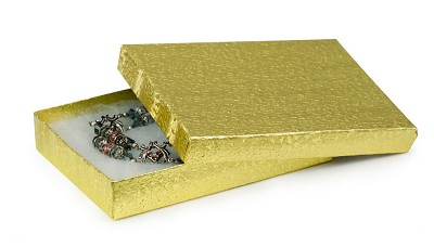 Gold Foil Cotton Filled Jewelry Box #53