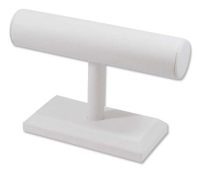 "T-Bar Jewelry Display 7-1/4""W x 5""H White Leatherette"