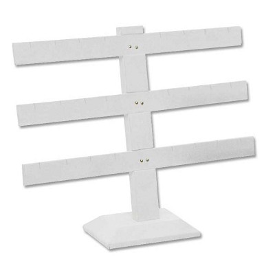 Earring Display Stand T Bar Jewelry Display 3-Tier White